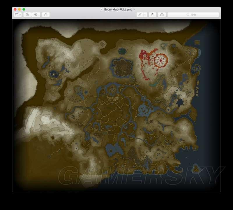 薩爾達傳說荒野之息 世界地圖整體