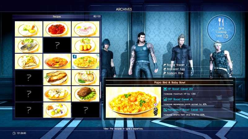 最終幻想 15 Final Fantasy XV(FF15) 實用料理推薦及材料獲得攻略