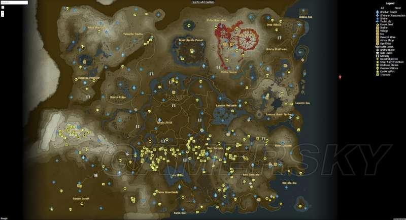 薩爾達傳說荒野之息 神廟、寶箱及地標全收集地圖