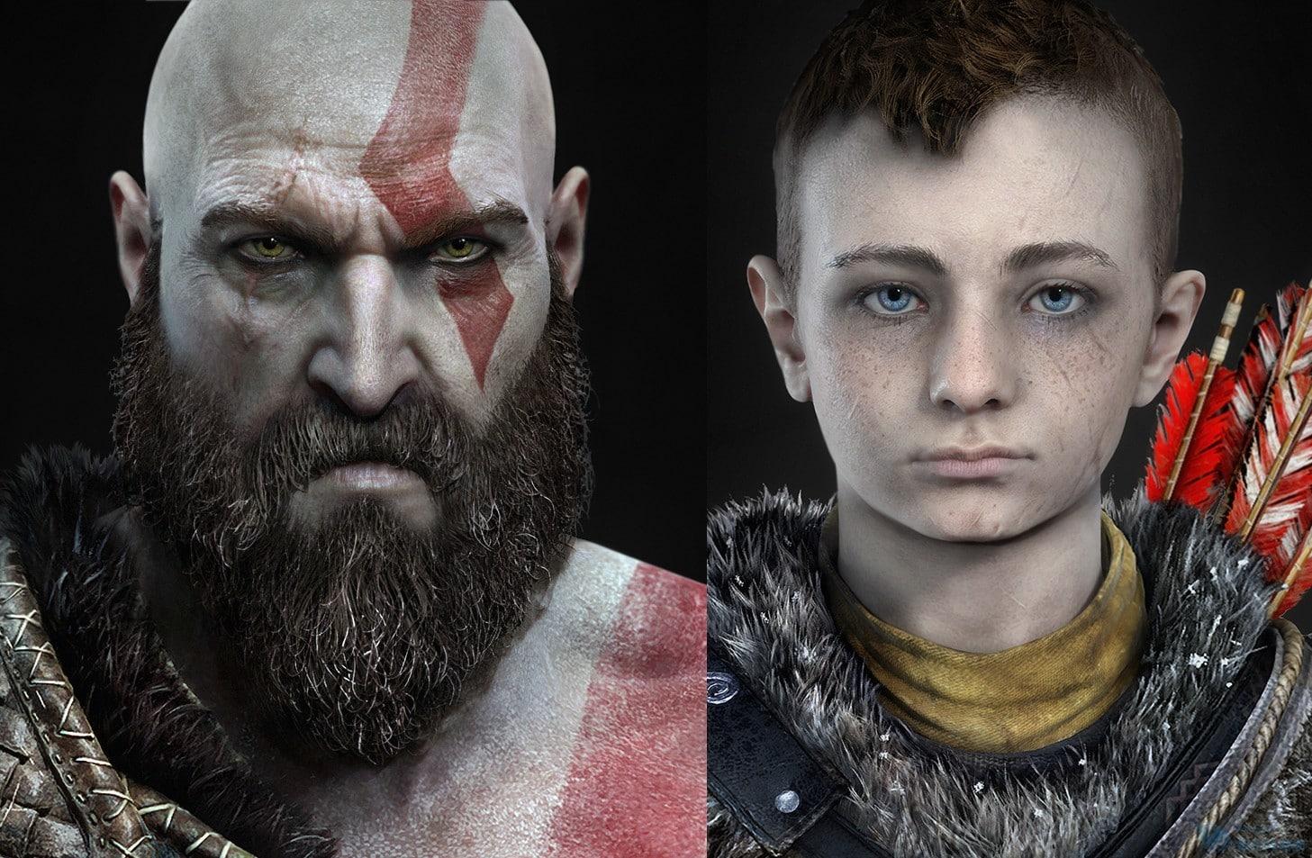 《戰神》新作奎爺和兒子模型圖 連毛孔都清晰可見