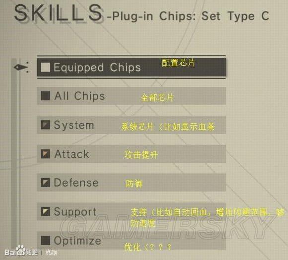 尼爾 自動人形 芯片合成系統介紹及芯片配備界面翻譯