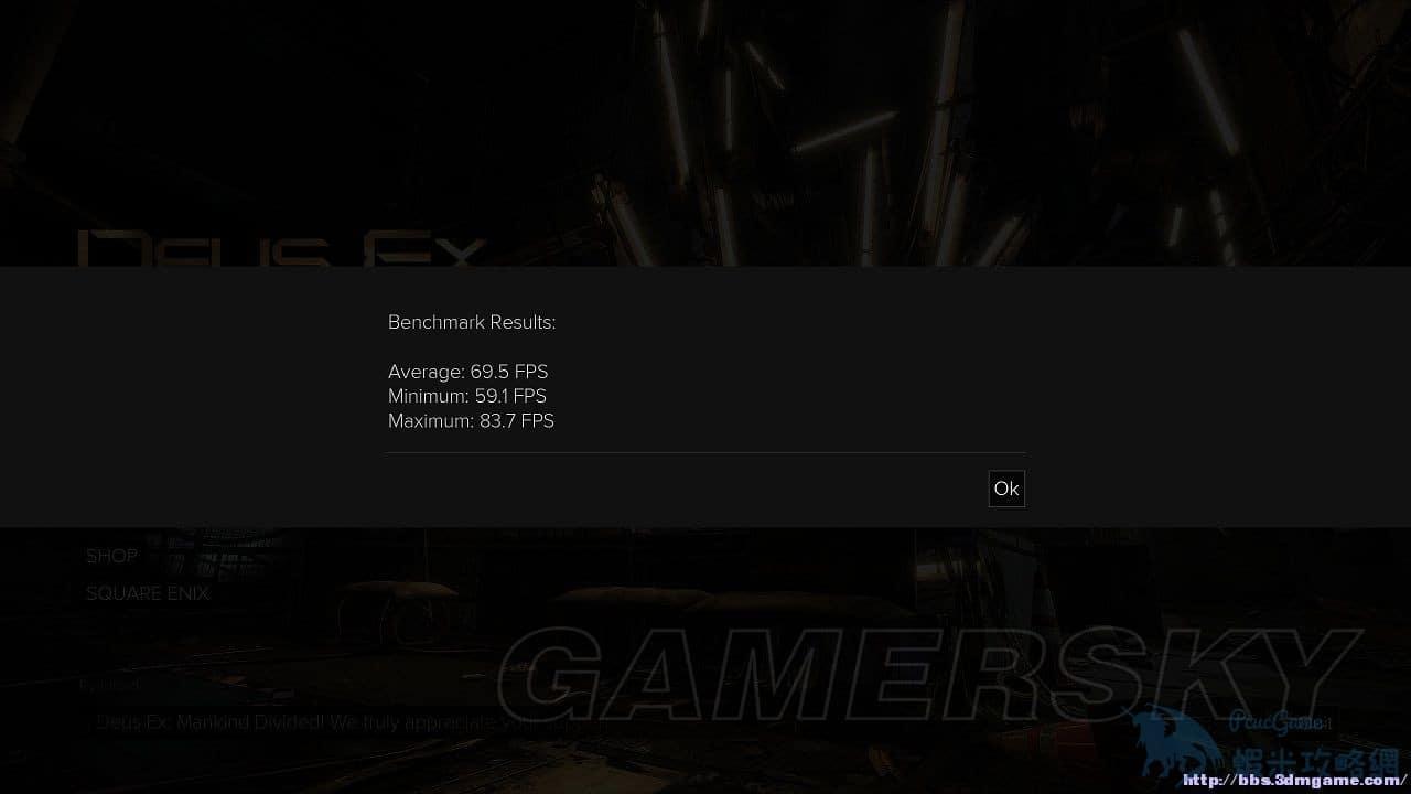 駭客入侵人類分裂 GTX1080 Benchmark幀數測試 Deus Ex: Mankind Divided