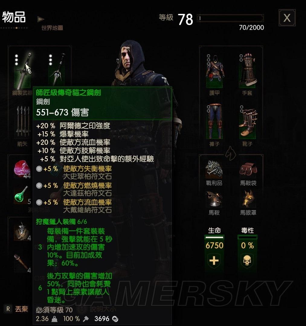 巫師3 全師匠級套裝屬性效果及外觀圖鑑