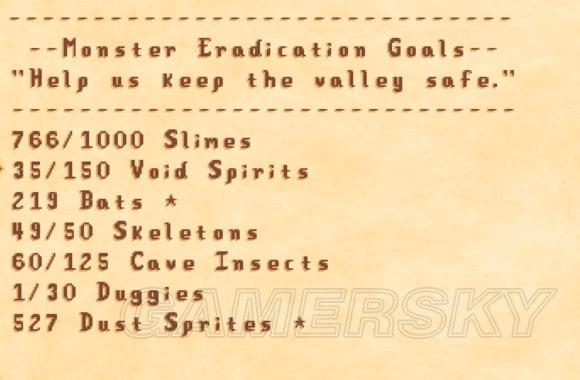 Stardew Valley 冒險工會成就怪物名稱與刷怪層數