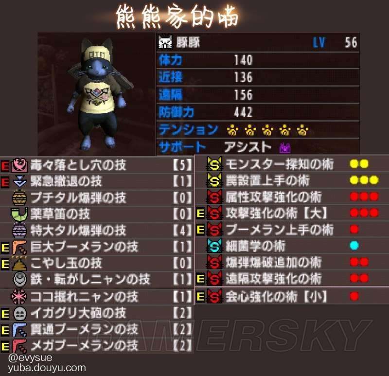 魔物獵人XX 隨從貓、獵貓技能選擇與搭配攻略