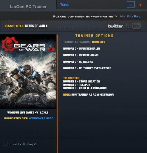 戰爭機器4 v11.7.0.2六項修改器LinGon版 補丁下載