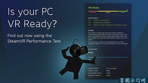 你的PC跑的動VR嗎?Valve「SteamVR」Performance Test免費下載!