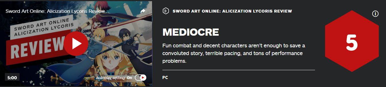 sword art online alicization lycoris IGN