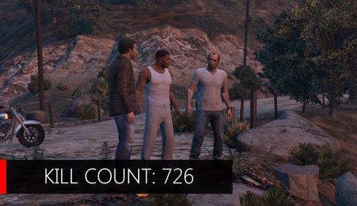 玩家挑戰《俠盜獵車手V》盡量不殺人破關,但最終仍必要擊殺726名敵人
