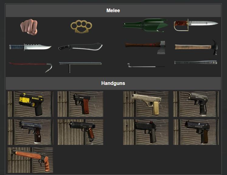 GTA5 全武器 - 近戰武器與小槍